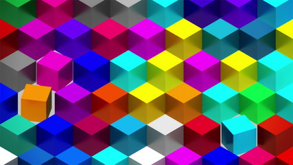 Colorful Cubes Rotation Seamless Loop