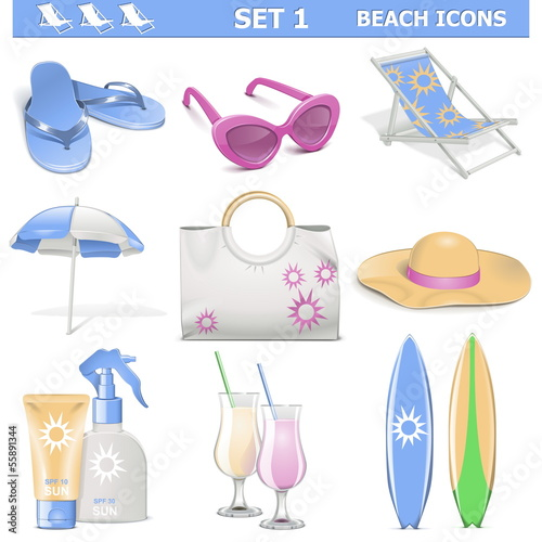 Vector Beach Icons Set 1