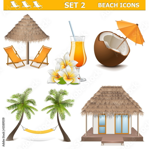 Vector Beach Icons Set 2