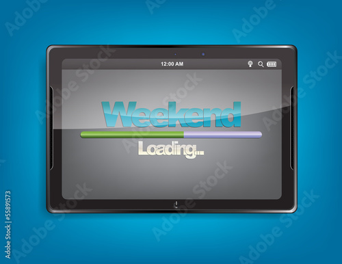 Tablet computer with loading bar