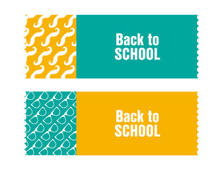 back to school ticket with hipster design