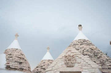 Trulli houses with conical roofs in Alberobello, Italy