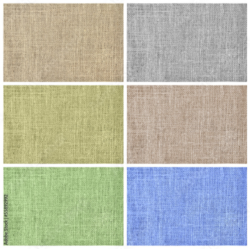 Burlap textil texture background set