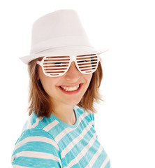 Cute teen girl in special sunglasses