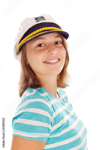 Teen girl in captain's hat