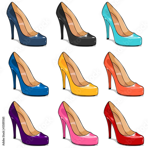 vector set of color women shoes