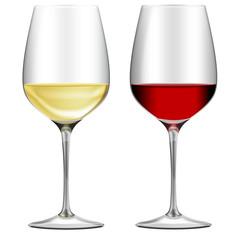 Rotweinglas und Weißweinglas, freigestellt, isoliert
