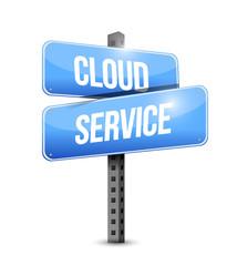 cloud service road sign illustration design