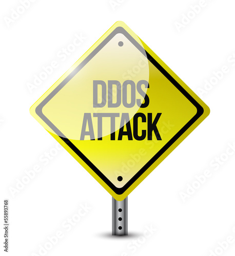 ddos attack road sign illustration design