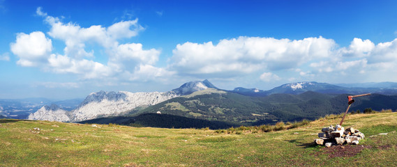Panorama of Urkiola mountains