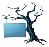 Halloween tree sign