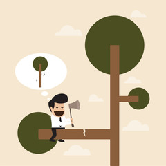 Man cut the branch of the tree with risk behavior
