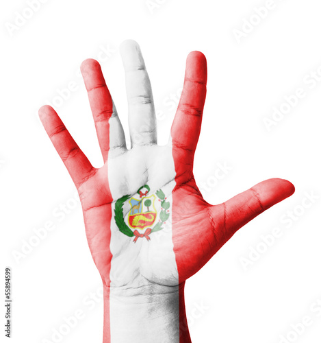 Open hand raised, multi purpose concept, Peru flag painted