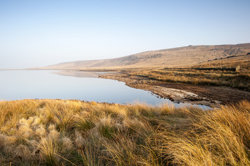 Yorkshire dales moorland reservoir in drought