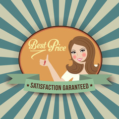 retro illlustration with a  woman and best price message