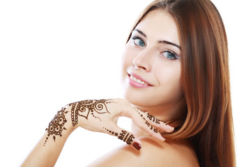 beautiful girl with mehandi
