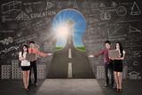 Business team present success road on blackboard in class