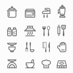 Kitchen symbol line icon set