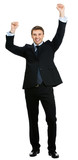 Full body of happy gesturing businessman , isolated