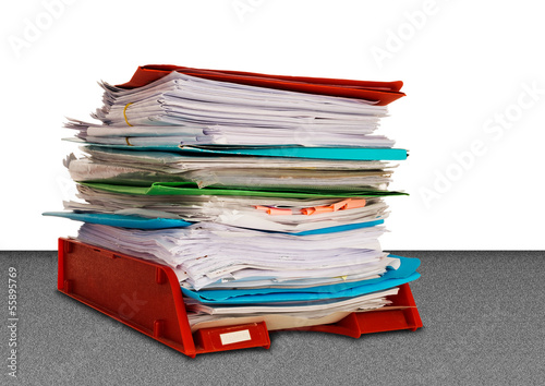 Office administration in-tray aka in tray isolated over white