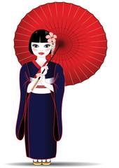 Donna cinese con kimono e ombrello rosso