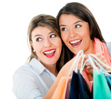 Surprised female shoppers