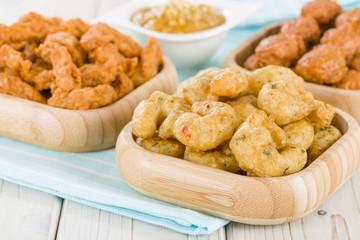 Crispy prawns, Penang chicken & Satay with peanut sauce