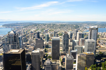 View of Seattle looking north on a sunny day