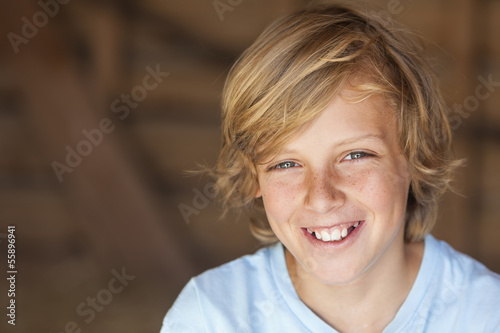 canvas print picture Young Happy Blond Boy Child Smiling