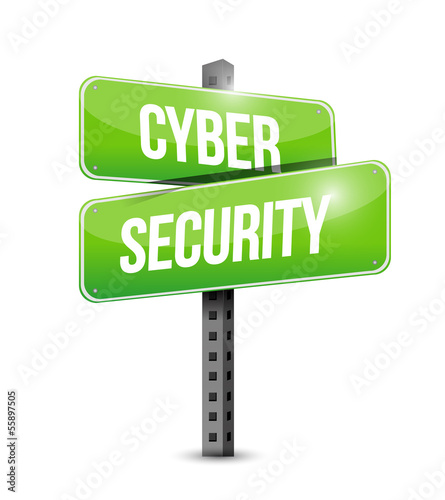 cyber security road sign illustration design