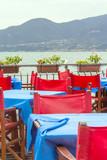 Lago di Garda-Restaurant on the lakeshore color image poster