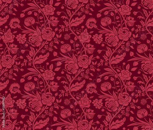 Claret seamless pattern with a vintage flower bouquets