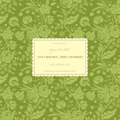 Green vintage wedding card with bouquets of flowers