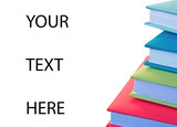 """stack of books with """"your text here"""""""