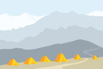 Himalayan base camp Vector Illustration
