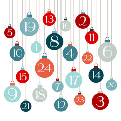 Retro Advent Calendar Christmas Balls Red/Blue