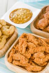 Penang chicken, Crispy prawns & Satay with peanut sauce