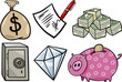 valuable objects cartoon illustration set