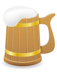 wooden beer mug vector illustration