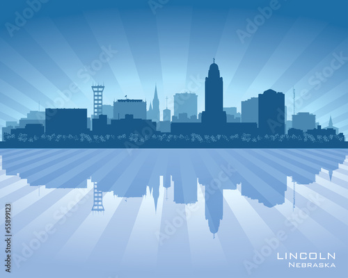 Lincoln Nebraska city skyline vector silhouette
