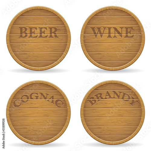 set wooden barrel vector illustration
