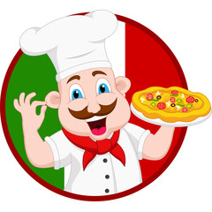Cartoon Chef Character With Pizza