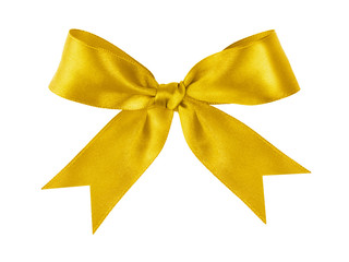 gold festive tied bow made from ribbon