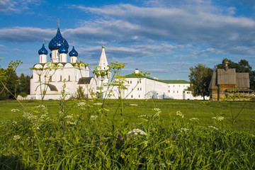Landscape with the Russian church with blue domes.