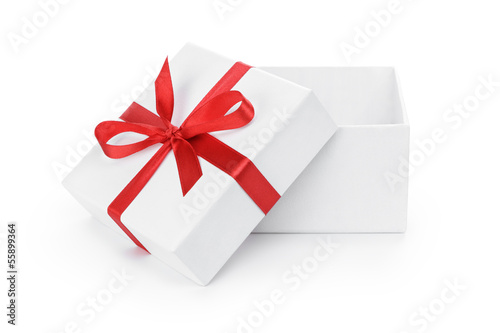 open white textured gift box with red ribbon bow - 55899364
