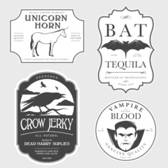 Funny vintage Halloween potion labels