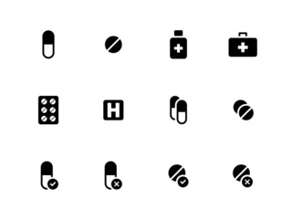 Pills, medication icons on white background.