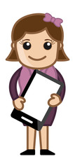 Woman Holding Tablet Mobile Device - Cartoon Business Vector