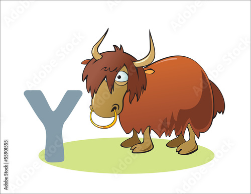 Cartoon Yak and letter Y