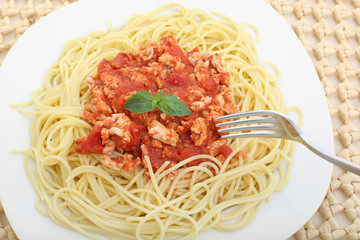 diet spaghetti bolognese with white meat - healthy eating concep